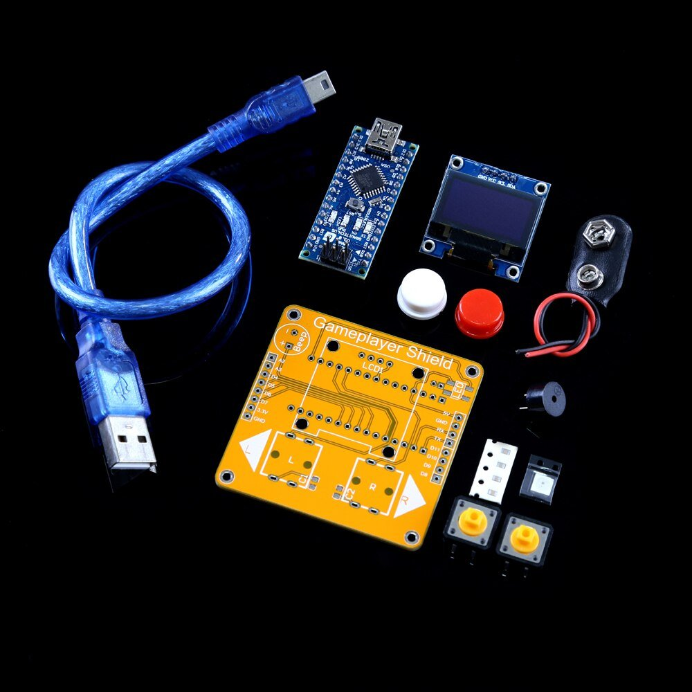 Arduino diy kit,Snake game,Easy to program ARDUINO game console,Nano Board ATmega328P,IIC Serial 128X64 OLED Display