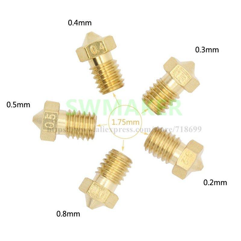 SWMAKER 5pcs 3D printer V6 V5 Extruder J-Head Brass Nozzle Print Head 0.2/0.3/0.4/0.5/0.8mm for 1.75mm anycubic 3D printer