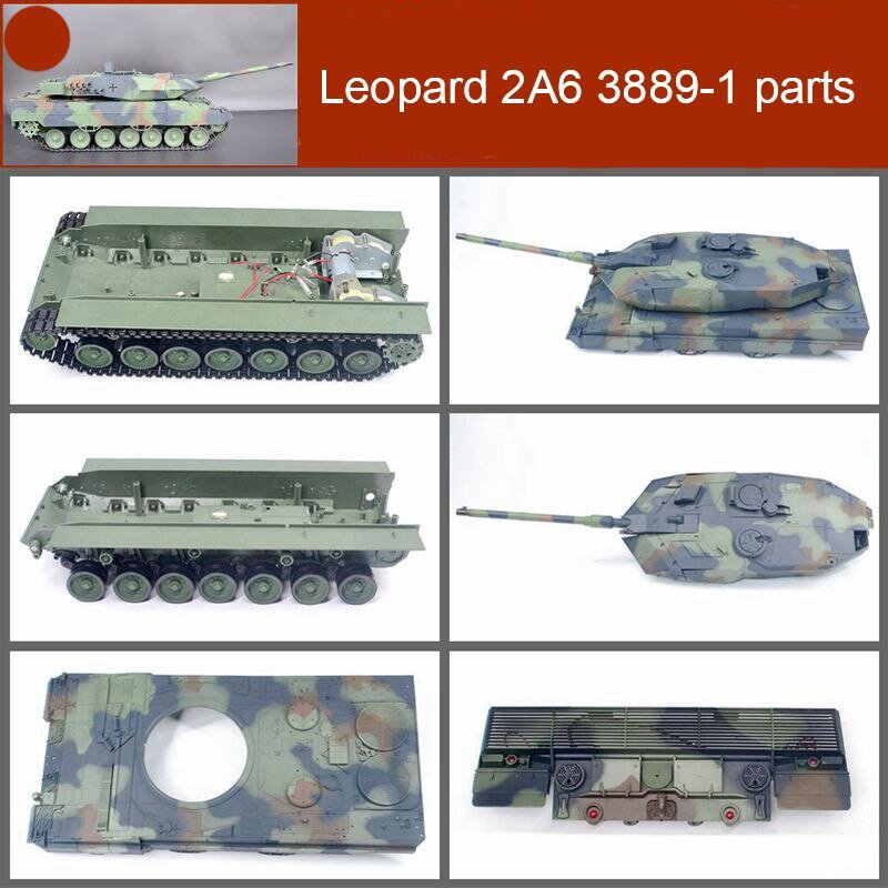 1pc Plastic Tank Cover/Shell/Metal Cannon/Rear Light Plate Replace Parts for 1/16 Henglong RC Tank Leopard 2A6 3889-1 Heng Long