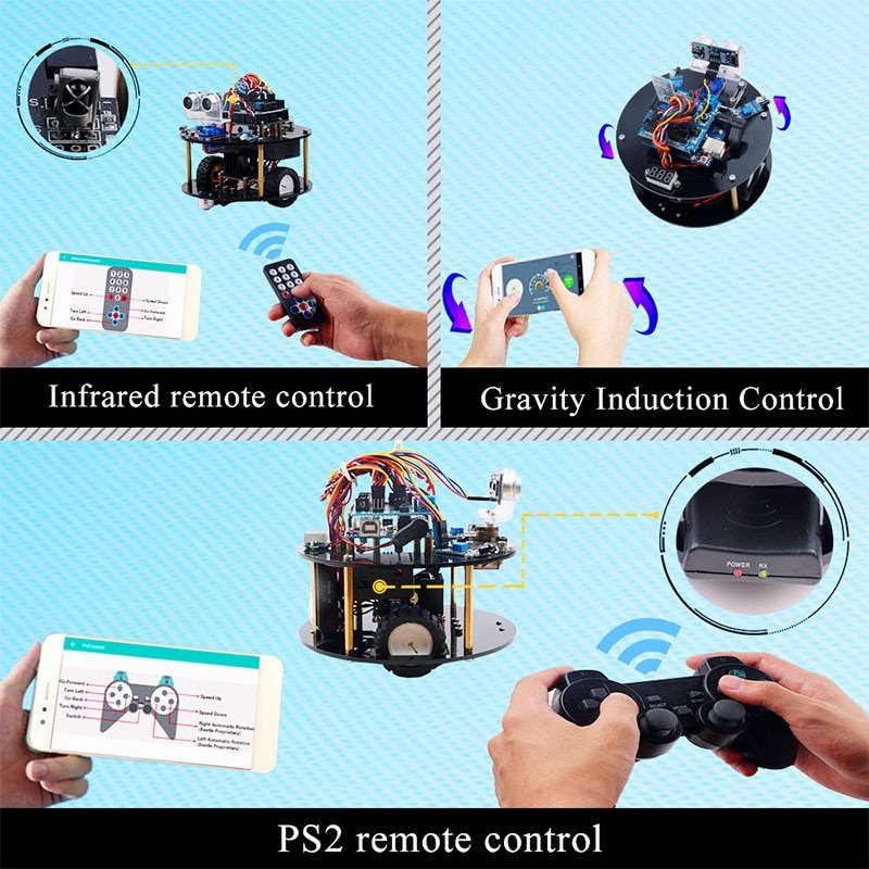 Keywish Robot for Arduino UNO R3 Smart Cars Kit APP RC Remote Control PS2 Ultrasonic Bluetooth Module Stem Toys for Children Kid