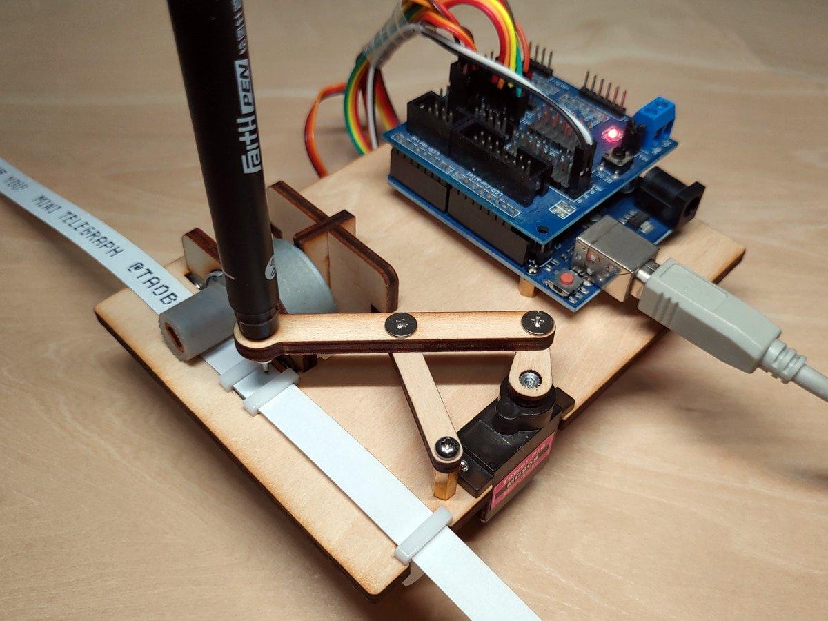 Mini Telegraph Arduino Writing Robot with Stepper Motor Open Source Telegraph Maker DIY Robotic Arm Programming STEM Toy