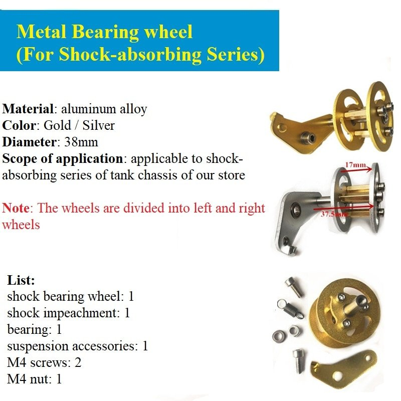 Original DOIT Shock Absorption Metal Bearing Wheel for Robot Tracked Tank Car Chassis Transmission Wheel with Suspension