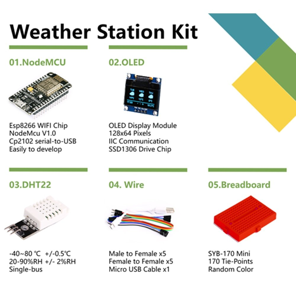 ESP8266 Weather Station  DIY Kit with Temperature Humidity  OLED 0.96 Display for Arduino IDE IoT Starter Nodemcu Demo Board