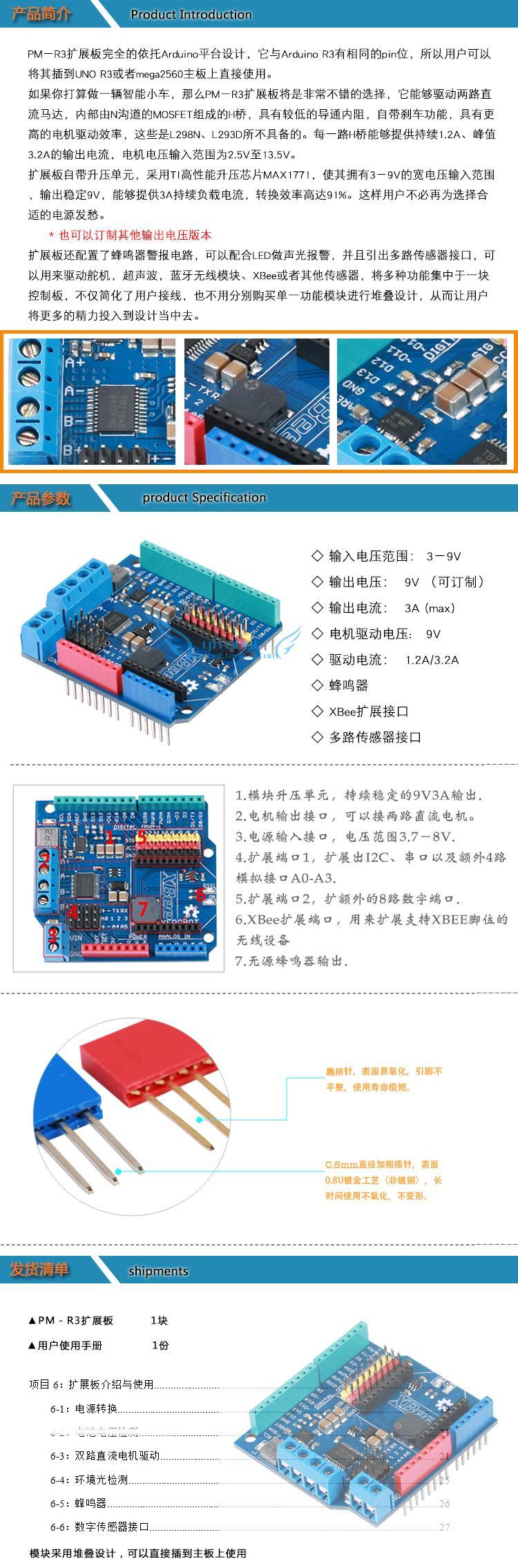 YFROBOT PM-R3 Smart Car Drive Board R3 Expansion Board Multi-function Motor Drive Board