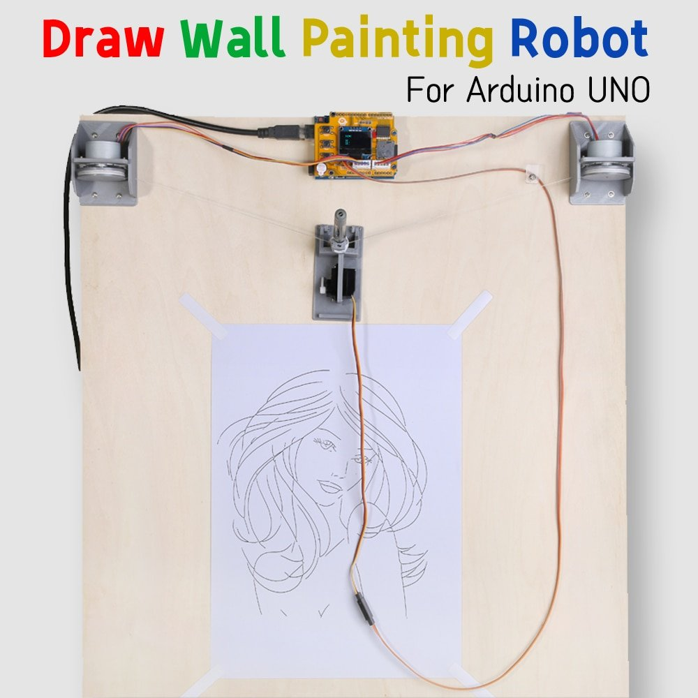 Drawbot for Arduino UNO R3 DIY kit Draw Line Plotter Wall Painting Robot STEM equipment Maker Project 3D printed parts Kid's toy