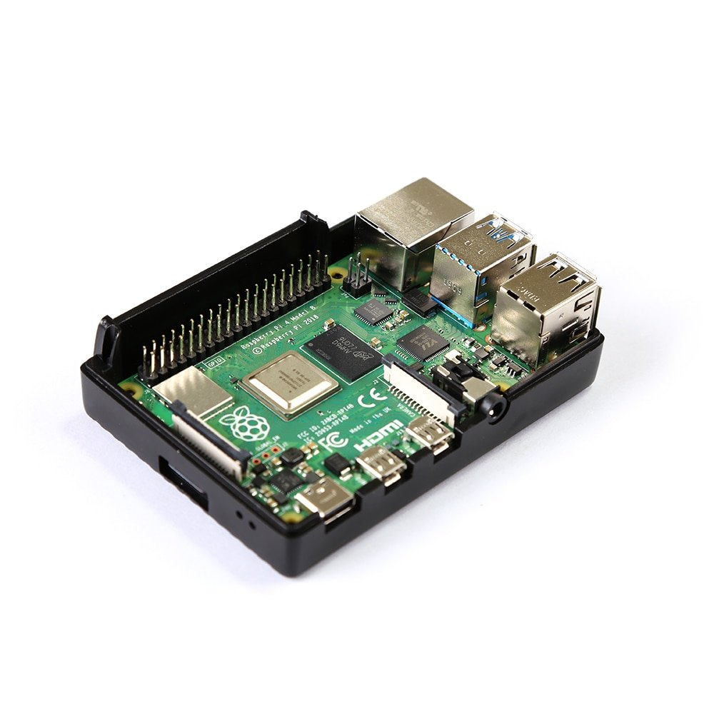 Aluminum shell For Raspberry Pi 4 Model B Black Aluminum Alloy Case Passive Cooling Shell Metal Enclosure Heat Dissipation