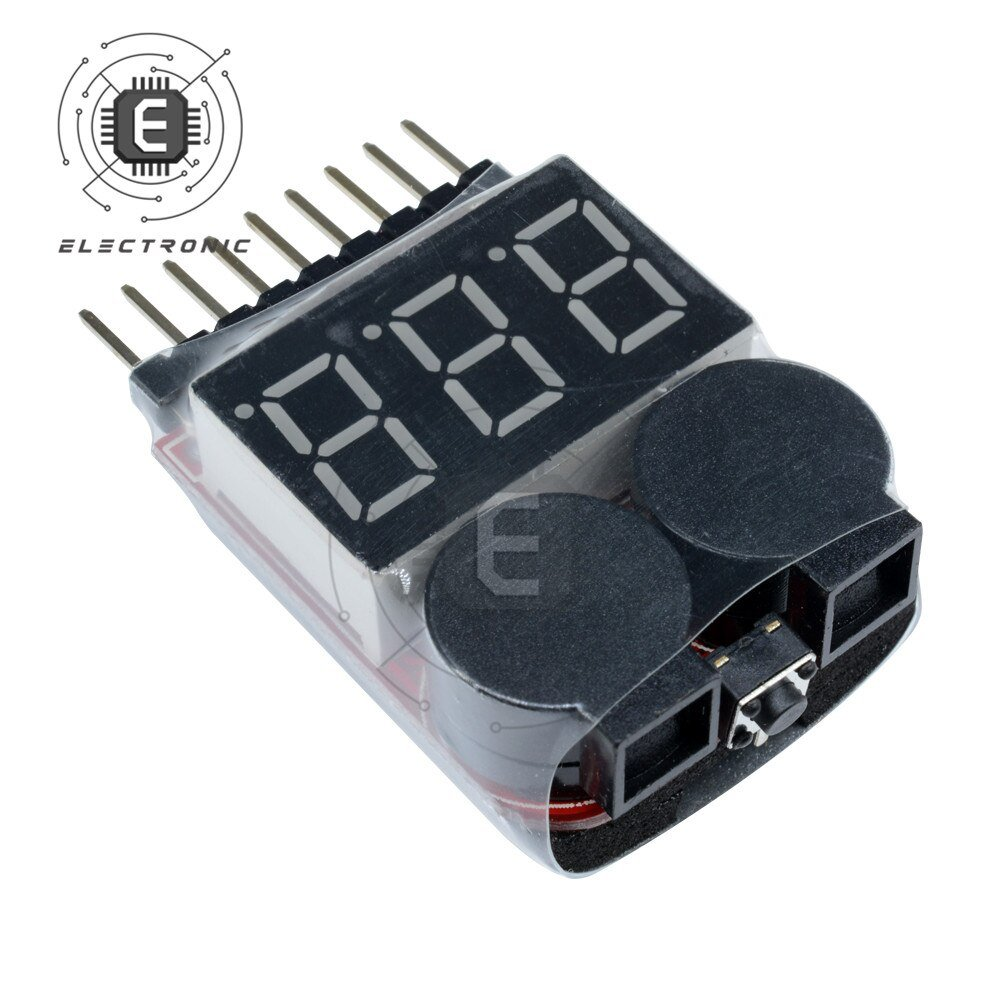 1S-8S 2 IN 1 Digital Battery Voltage Meter Tester Indicator Buzzer BB Sound Module for Lipo/Li-ion/Fe RC Helicopter