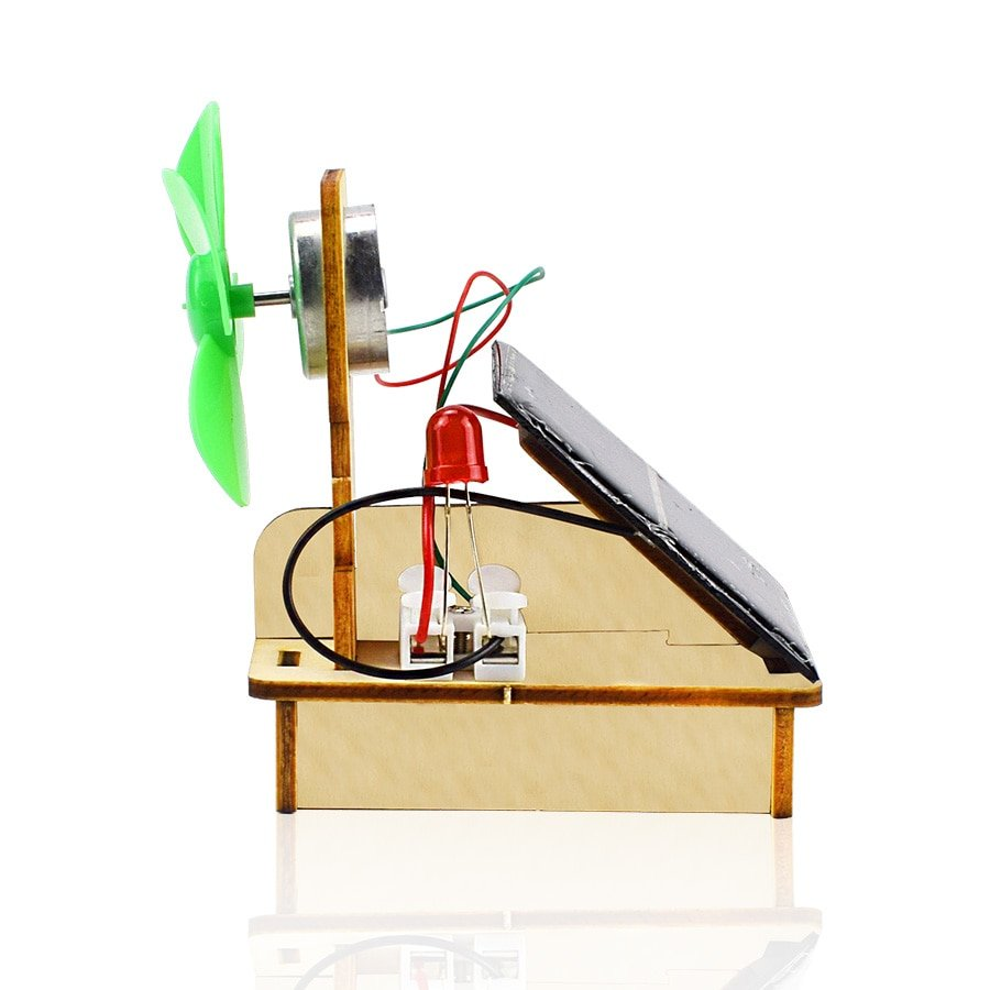 Solar and Wind Energy Powered Fan Model DIY Kit Science Toys for Children Hand-assembled Education Model Kit Wooden Toys Gift