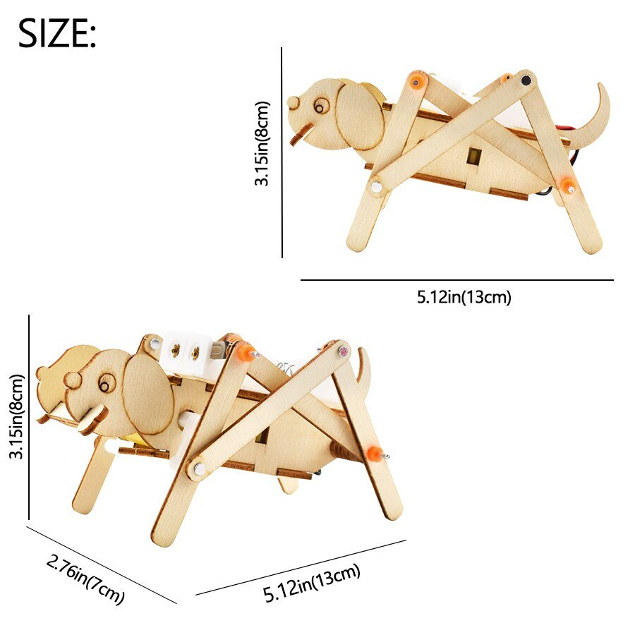 DIY Electronic Kit Crawling Dog Cute Modeling Science Experiment Kit for Kids Educational Toys Learning Physics Toy Wood Model
