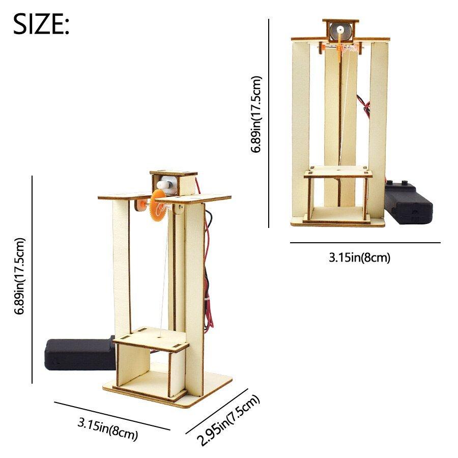 DIY Sets Electric Remote Control Lift Elevator Wooden Model Kit Science Toys Kids Best Friends STEM Education Creative DIY Kits