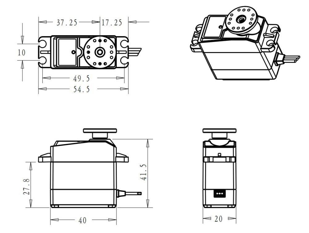 1X 35kg high torque Coreless motor servo Metal gear digital and Stainless Steel gear servo arduino servo for Robotic DIY,RC car